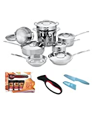 Cuisinart 77-14 Chefs Classic Stainless 14-piece Cookware Set + Kamenstein Mini Measuring Spoons Spice Set + Accessory Kit by Cuisinart