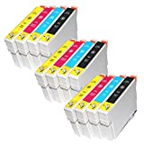 3 Full Sets Inks : 12 High capacity Compatible Ink Cartridges Multipack T0555 - T0551 T0552 T0553 T0554 for Epson Stylus Photo Printers R240 R245 RX420 RX425 RX450 RX520 (UK Delivery)