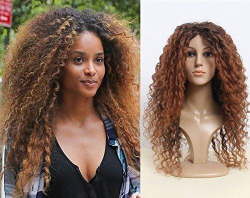 De Luxe Ciara Long Bouclé Brun En Surbrillance Afro Résistante À La Chaleur Mode De Célébrité Perruque