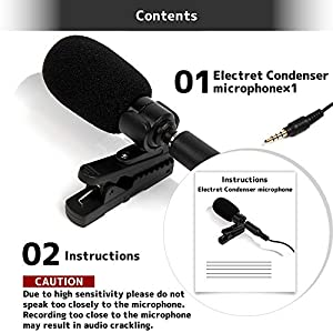 Ashuneru Professional Lavalier Lapel Microphone Omnidirectional Condenser Mic for iPhone Android iPad smartphones Recording Interview Youtube Conferen