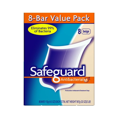 Safeguard Antibacterial Bar Soap, 8 Count, Beige, 4.0-Ounces Packages (Pack of 3)