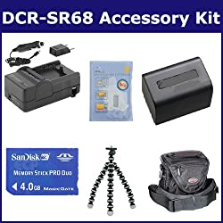 Sony DCR-SR68 Camcorder Accessory Kit includes: SDNPFV70 Battery, SDM-109 Charger, SDMSPD4096 Memory Card, ST60C Case, ZELCKSG Care & Cleaning, GP-22 Tripod