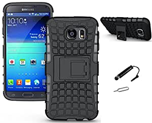 TCA Kick Stand Hard Dual Layer Rugged Armor Hybrid Bumper Back Case Cover For Samsung Galaxy S6 - Black With Mini Stylus & Eject Pin