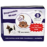 Wiki Wags Brand 12 Small Disposable Male Dog Wraps with Free Aloe Wet Wipes