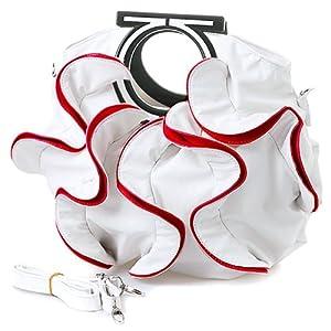 MG Collection Stylish White / Red Large Ruffles Handbag w/Shoulder Strap