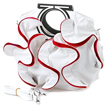 Stylish White, Vibrant Red Large Ruffle Double Handle Satchel Hobo Handbag
