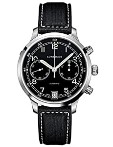 Longines Heritage Military 1938 Men's Automatic Watch with Black Dial Chronograph Display and Black Nylon Strap L27904530