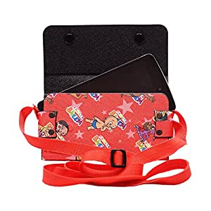 Colorkart Printed Mobile Pouch Handbag With Adjustable Strip For Lenovo VIBE P1m Mobile Phone (Red)