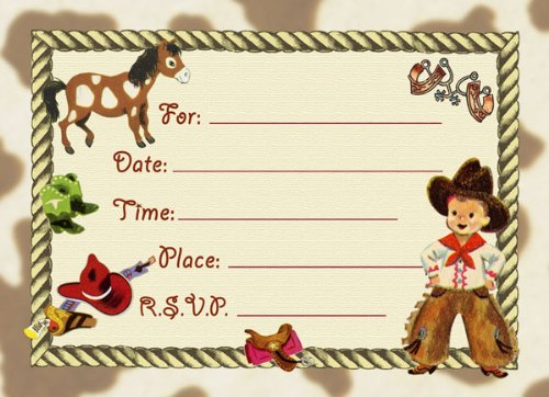 Dolce Mia Western Tots Cowboy Party Invitations