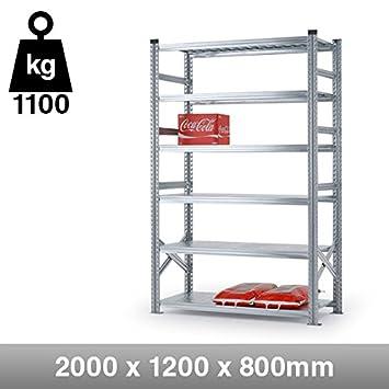 6 Tier Heavy Duty Metal Shelving Rack- 2000mm x 1200mm x 800mm