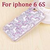 【ノーブランド】iPhoneケース ユニコーン iPhone5/5s iPhone6/6s iPhone6Plus/6sPlus モバイルケース カバー グリッター (IPhone6/6s, シルバー)