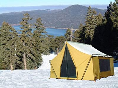 Trek Tents 245C Canvas Cabin 9' x 12' Heavy Duty Cotton Camping 7 Person Tent w/ Fly Cover