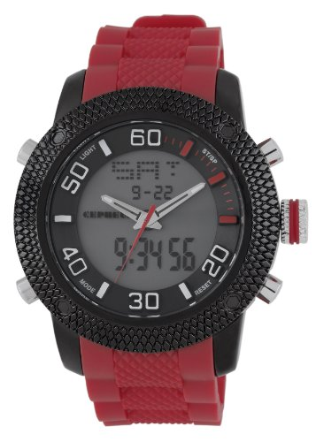 Cepheus Men's Quartz Watch with Grey Dial Analogue - Digital Display and Red Silicone Strap CP903-624