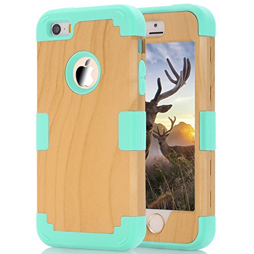 Phone case for iphone5/5s/SE, Speedup 3 in 1 High Impact Combo Luxury Cool Wood Textured and Soft Silicon Case for Apple iPhone 5/5S/SE (Mint Green) (Iphone5 Case Crystal compare prices)