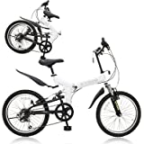 KYUZO 20インチ 折りたたみ自転車 シマノ純正6段変速にZOOM製フロントサス、リアサスを搭載した自転車の九蔵別注MTB! KZ-100 (マットホワイト)