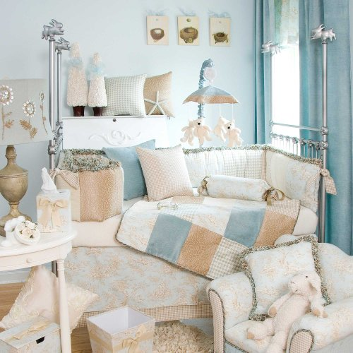 Glenna Jean 3 Piece Central Park Bedding Set, Blue/Chocolate/Tan/White