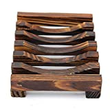 10.8x8x2.5cm Wooden Handmade Bathroom Soap Dish Sink Sponge Holder Sundries Rack
