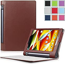 Yoga Tablet 3 8 Case - HOTCOOL Ultra Slim Lightweight Folio With Auto Sleep / Wake Feature Cover Case For 2015 Released Lenovo Yoga Tablet 3 8-Inch Tablet, Brown