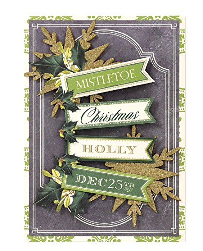 Handmade Dimensional Glitter Mistletoe and Holly Christmas Cards By Anna Griffin -- Set of 10 Cards and Envelopes