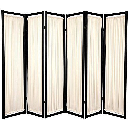 Oriental Furniture Modern Furniture, 6-Feet Helsinki Fabric Japanese Privacy Screen Room Divider, 6 Panel Black