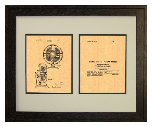 "Design For An Electric Fan Patent Art Print In A Rustic Oak Wood Frame (16"" X 20"")"