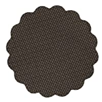 Country Style Black, Charcoal, Light Tan Plaid Tablemat Quilted Scalloped 20