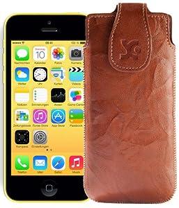 Original Suncase Tasche für / Apple iPhone 5C / Leder Etui Handytasche Ledertasche Schutzhülle Case Hülle / in wash-braun
