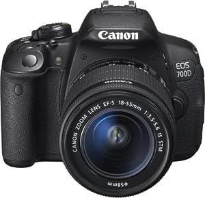 """Canon EOS 700D + EF-S18-55 IS STM noir, reflex numérique, écran tactile 3"""" (7,6 cm), vidéo full HD"""