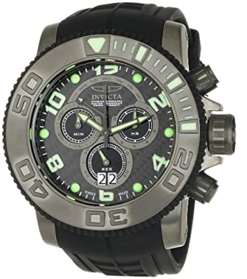 Invicta Men's 0413 Pro Diver Collection Sea Hunter Chronograph Black Polyurethane Watch