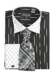 Men\'s Check Pattern Two Tone French Cuff Shirt Cufflinks - Black 18.5 36-37