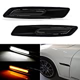 iJDMTOY BMW F10 Style White/Amber Switchback LED Light Black Finish Side Marker Lamps For BMW E90 E92 E60 1 3 5 Series X1