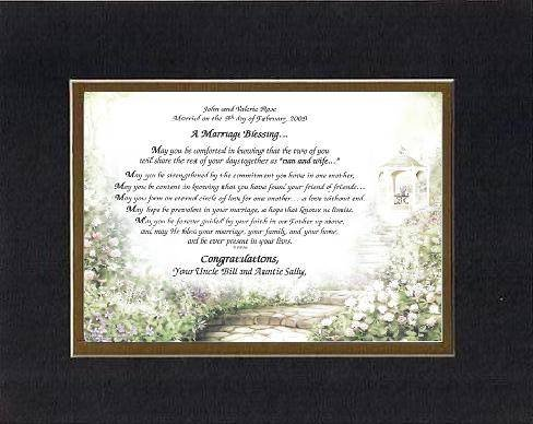 Personalized Touching And Heartfelt Poem For Wedding - A Marriage Blessing . . . Poem On 11 X 14 Inches Double Beveled Matting (Black On Gold front-781133