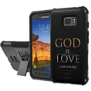 [AT&T] Galaxy [Active S7] Armor Case [NakedShield] [Black/Black] Urban Shockproof Defender [Kick Stand] - [God is Love] for Samsung Galaxy [S7 Active]