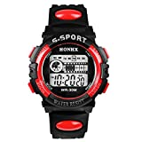 Bestpriceam 1pc Mens Boys Waterproof Sports Digital LED Alarm Date Rubber Band Wrist Watch Red