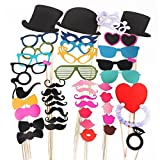 JUYO VONSAN® Colorful Photo Booth Props On A Stick Mustache Party Wedding Christmas Birthday Favor (44pcs)