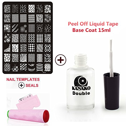 Gellen-Nail-Art-Image-Plate-Scraperrubber-Tool-Pink-15ml-White-Peel-Off-Liquid-Tape-Base-Coat-Manicure-DIY-Kit-Parent