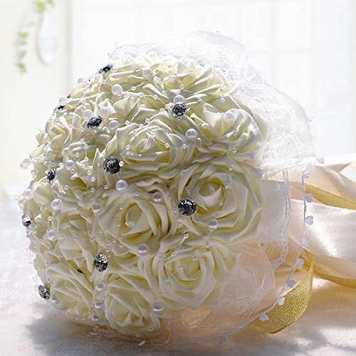Hestian 18pcs Rose with Rhinestone,pearls Chains Stain Ribbon Handle Bridal Wedding Bouquet Silk Rose Hand Tie (beige)