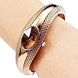 Elegant Golden Oval Quartz Watch OL Lady Cuff Bangle Bracelet