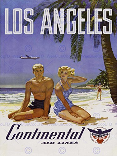travel-la-los-angeles-continental-airline-beach-tropical-advert-poster-affiche-2232py