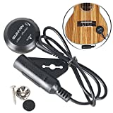 Sunyin Transducer Paste Mini Pickup with 10-Feet Straight to Right Angle FREE Guitar Cable used for Acoustic Classical Guitar Ukulele Violin Mandolin Banjo Cello-black