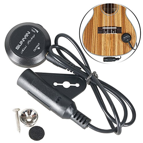 Sunyin Transducer Paste Mini Pickup with 10-Feet Straight to Right Angle FREE Guitar Cable used for Acoustic Guitar Ukulele Violin Mandolin Banjo Cello-black