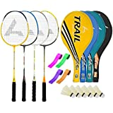 Guru TrailBR06 Series-COMBO-4 Badminton Racquets Set Pack Of Four With Four Cover Six Shuttlecock & Four Hand...