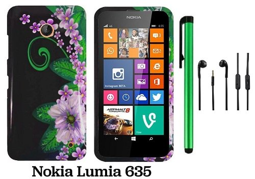 Nokia Lumia 635 (Us Carrier: T-Mobile, Metropcs, And At&T) Premium Pretty Design Protector Cover Case + 3.5Mm Stereo Earphones + 1 Of New Assorted Color Metal Stylus Touch Screen Pen (Black Green Pink Flower)
