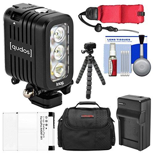 Knog Qudos Action Camera LED Video Light (Black) with Case + AHDBT-301 Battery & Charger + Flex Tripod + Float Strap + Kit for HERO 3, 3+