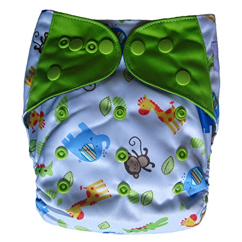 Ecoable All-In-Two Cloth Diaper /Snap-In Charcoal Bamboo Insert, Safari