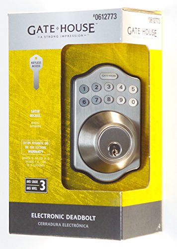 Gatehouse Satin Nickel Single-Cylinder Motorized Electronic Entry Door Deadbolt with Keypad (Gatehouse Electronic Deadbolt compare prices)