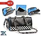 [UpTown] Women's Shoulder Bag Wallet with Wrist Strap Universal Phone Bag Compatible with LG Vu Plus Case - CHECKERED with GLOSSY BLACK