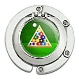 Billiard Balls and Triangle Pool Table Foldable Table Bag Purse Caddy Handbag Hanger Holder Hook with Folding Compact Mirror