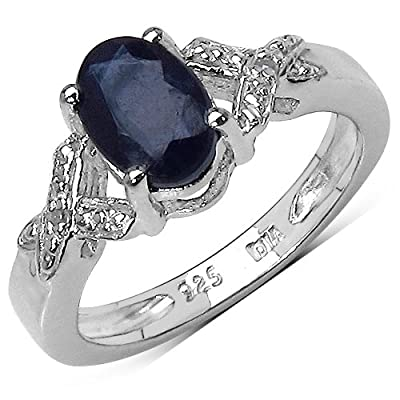 The Sapphire Ring Collection: Sterling Silver 1.00CT Sapphire Engagement Ring with Diamond Shoulders