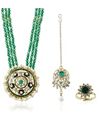 Sia Art Jewellery Pearl Jewellery Set For Women (Golden) (AZ2127)